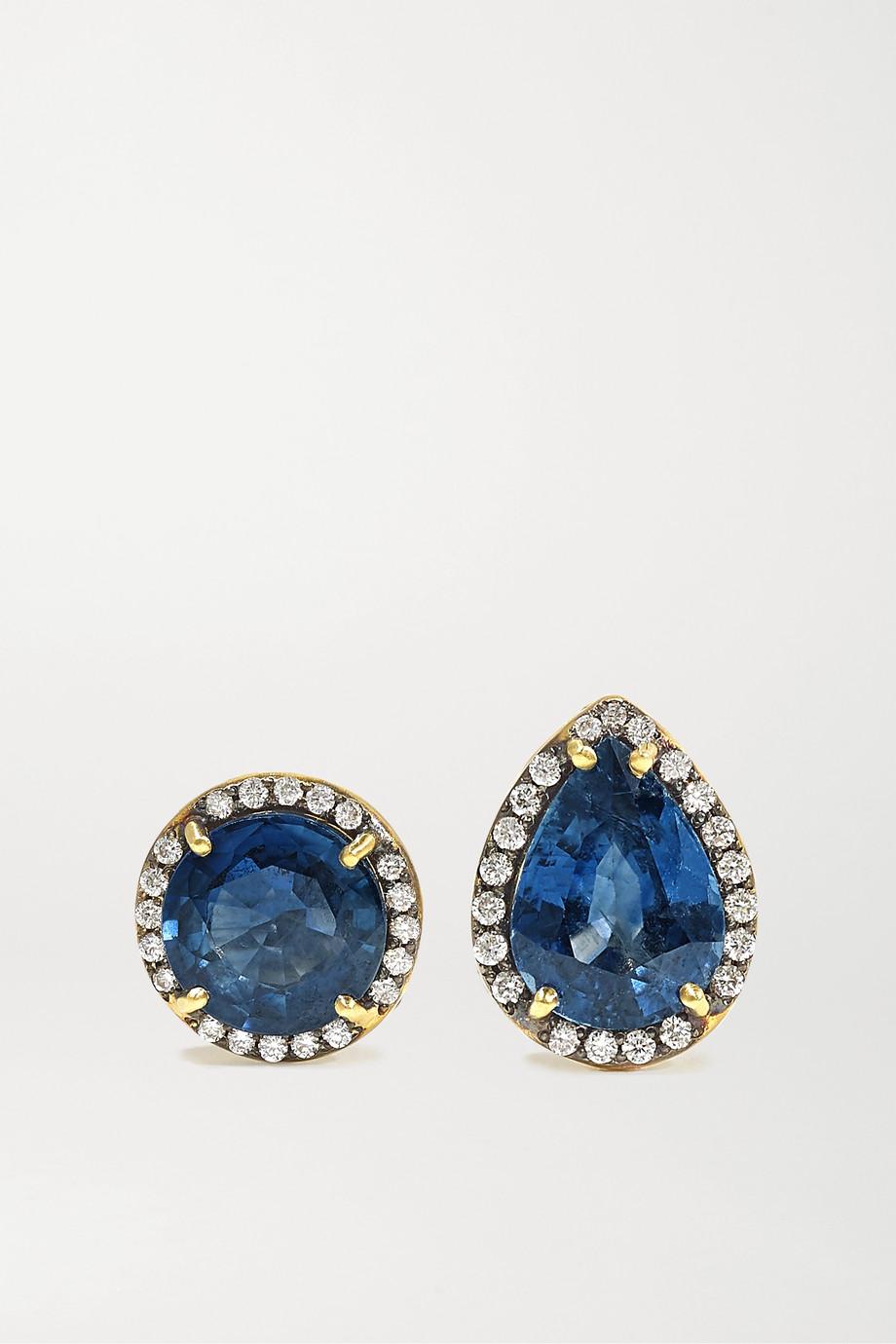 Sylva & Cie Ohrringe aus 18 Karat Gold mit Saphiren und Diamanten