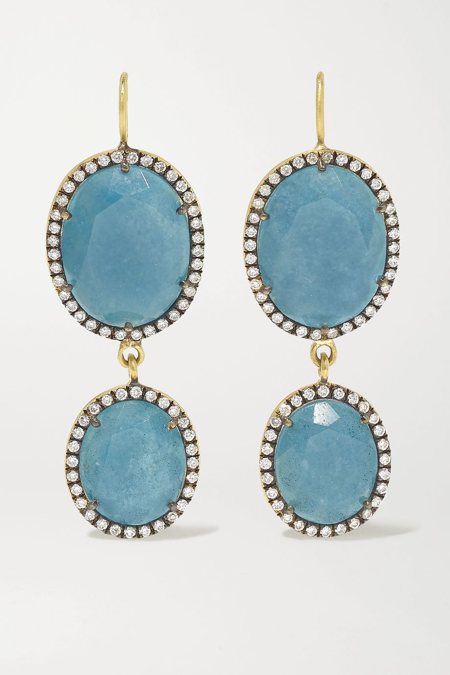 Sylva & Cie 18-karat gold, quartz and diamond earrings