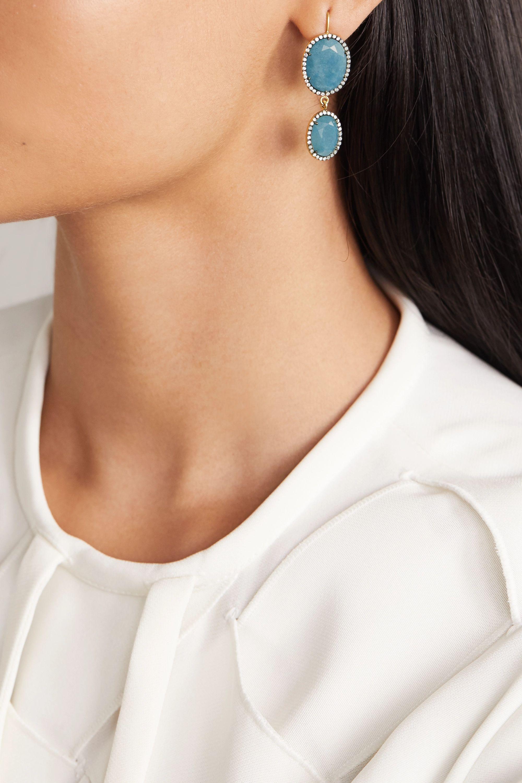Sylva & Cie 18-karat gold, quartz and diamond earrings