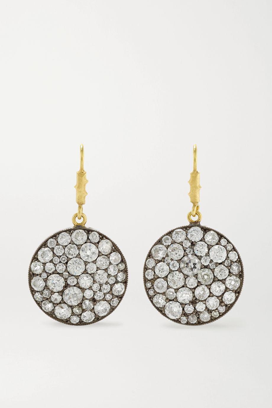 Sylva & Cie Ten Table Ohrringe aus 18 Karat Gold und Sterlingsilber mit Diamanten