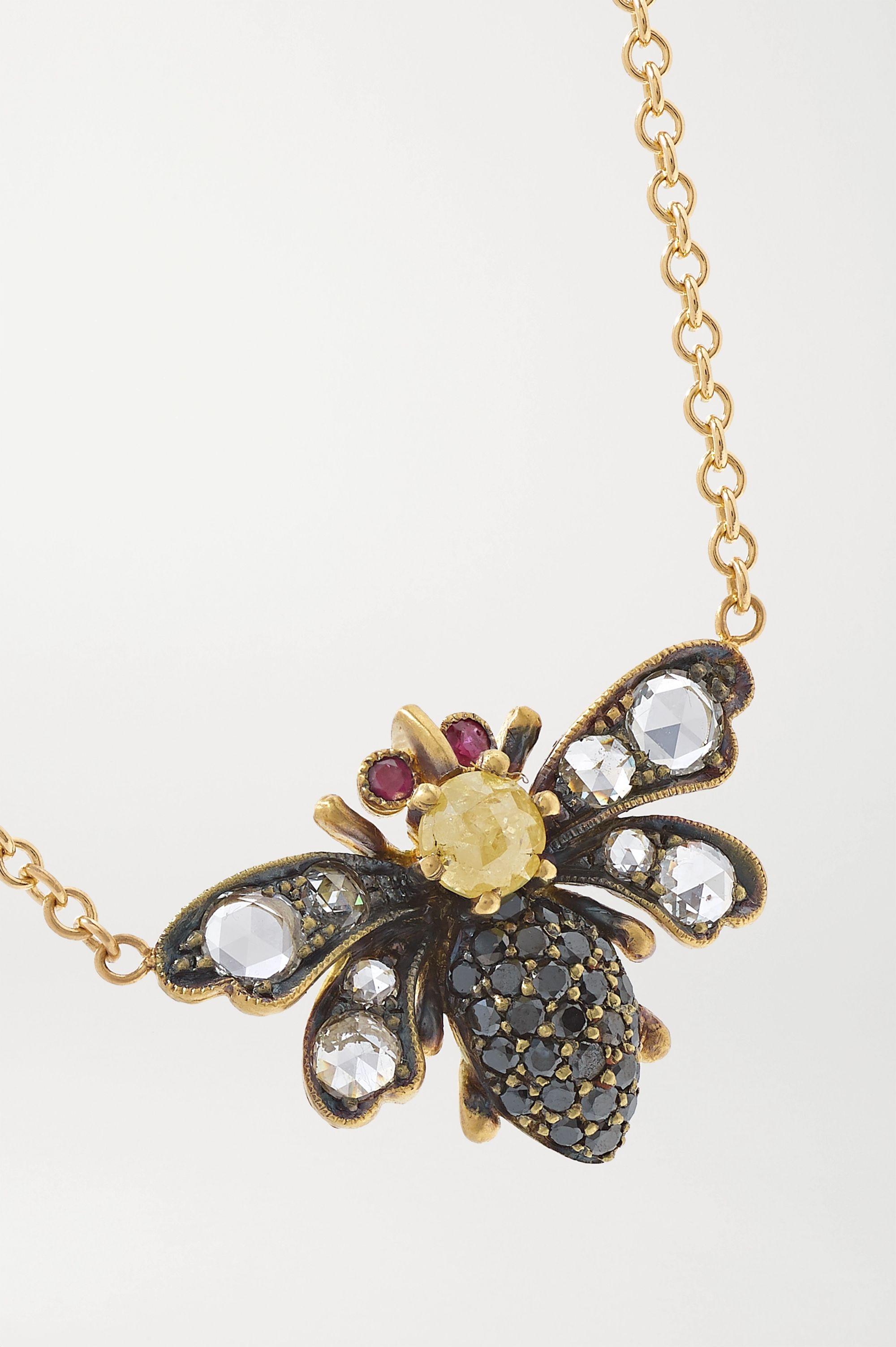 Sylva & Cie 18-karat gold, diamond and ruby necklace