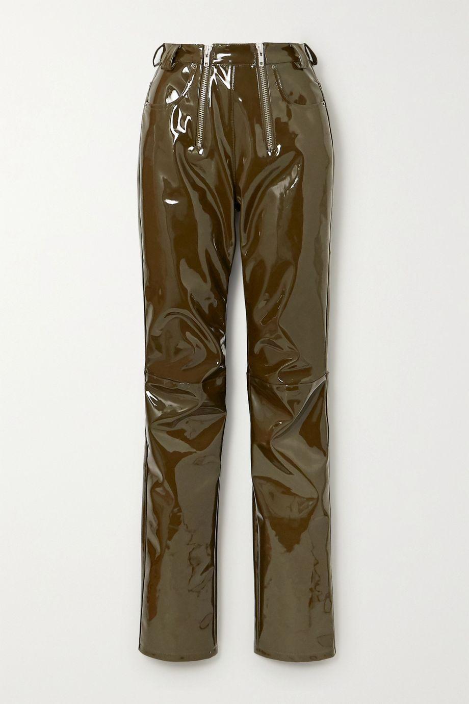 GmbH Frey zip-detailed vinyl slim-leg pants