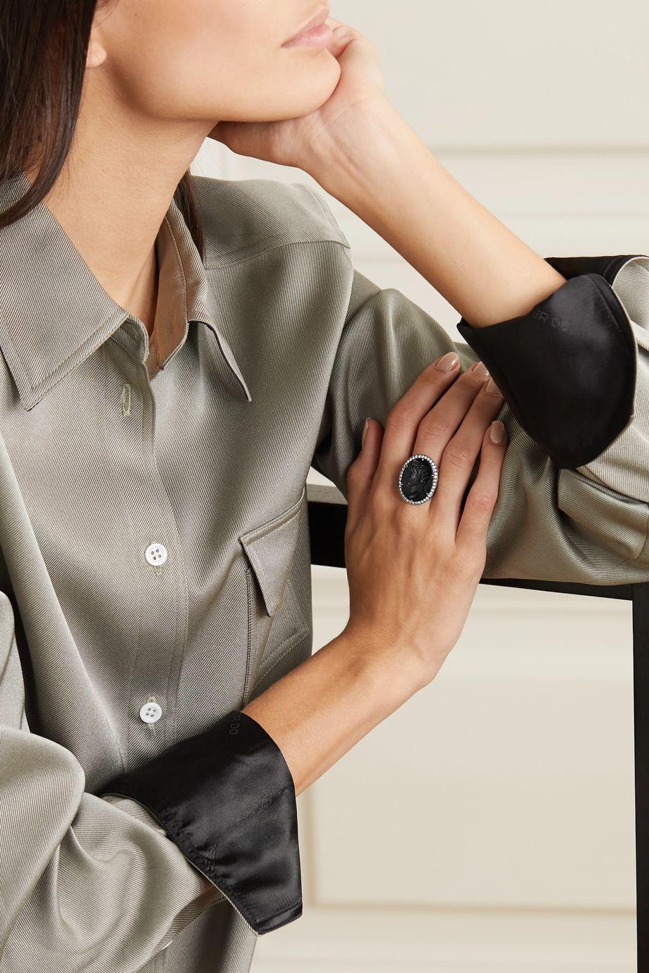 Sylva & Cie Ring aus 18 Karat Weißgold mit Emaille und Diamanten