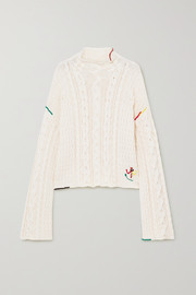 JW Anderson Embroidered cable-knit cotton sweater