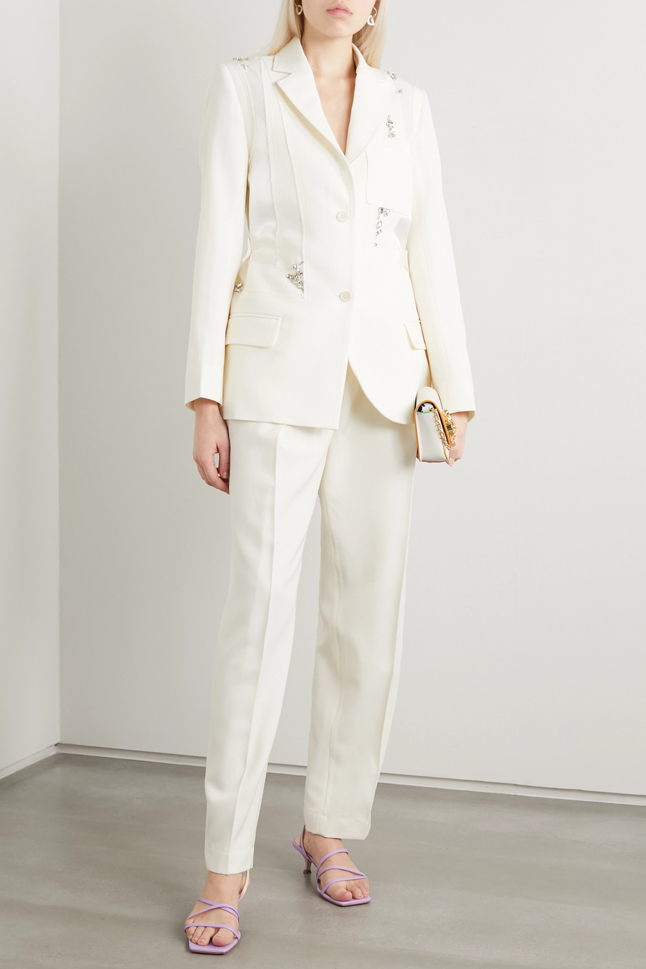 JW Anderson Crystal-embellished paneled satin and wool-crepe blazer