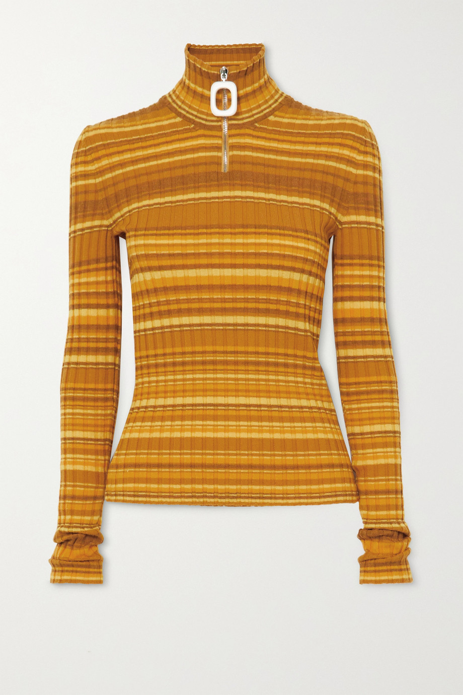 JW Anderson Striped ribbed wool-blend turtleneck sweater