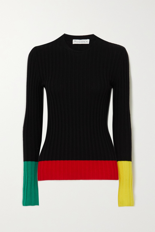 Black Color Block Ribbed Merino Wool Sweater Jw Anderson Net A Porter