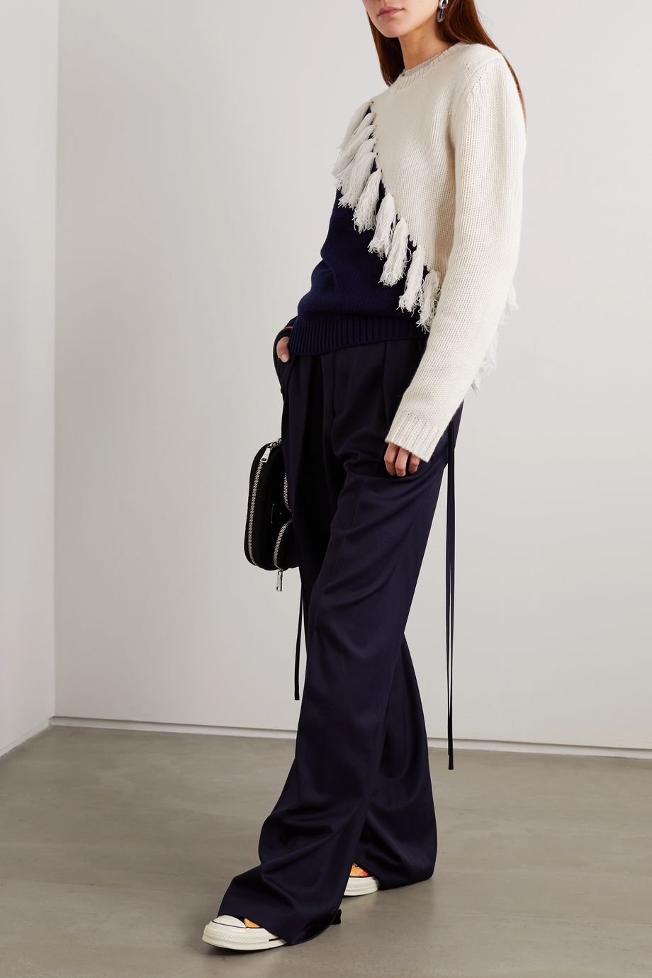 JW Anderson Tasselled two-tone wool and cashmere-blend sweater