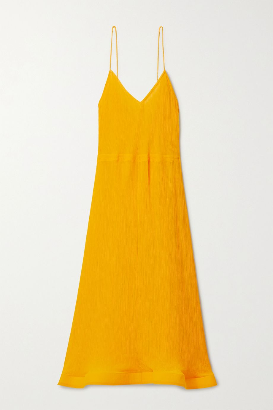 JW Anderson Fluted crinkled cotton and silk-blend voile midi dress
