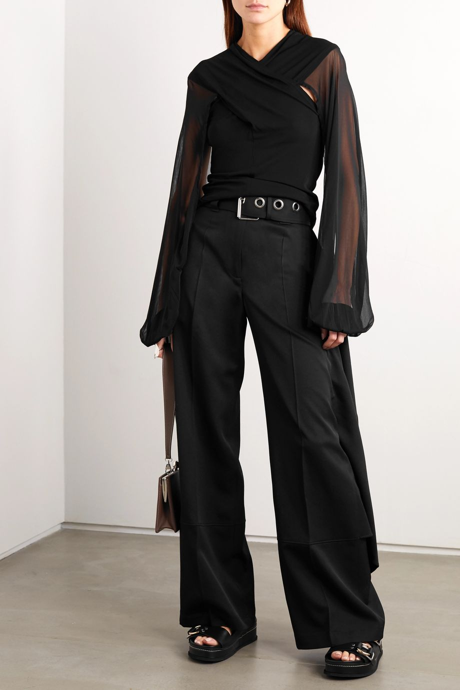 JW Anderson Draped stretch-jersey and tulle blouse