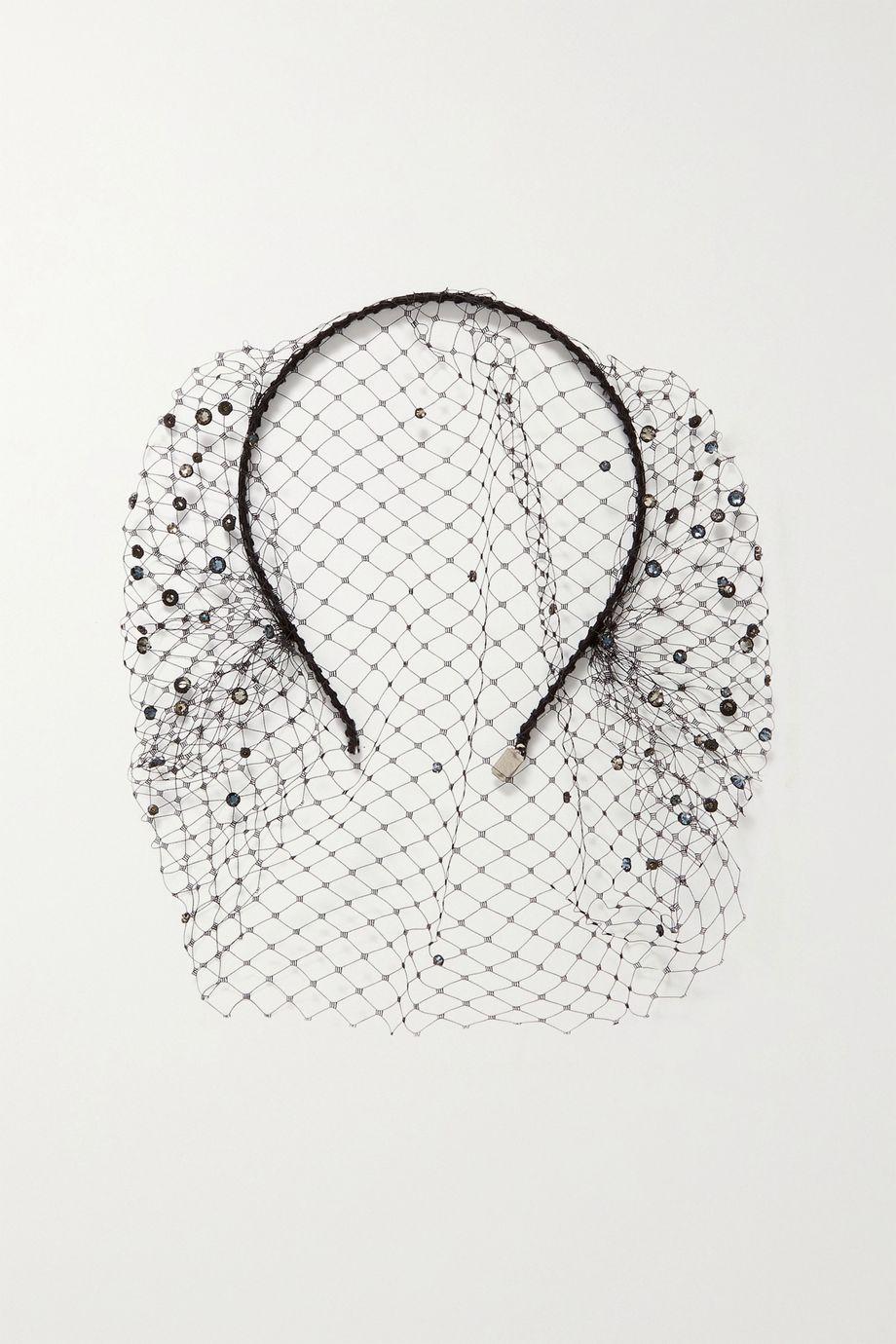 Gigi Burris Swarovski crystal-embellished silk-tulle veil