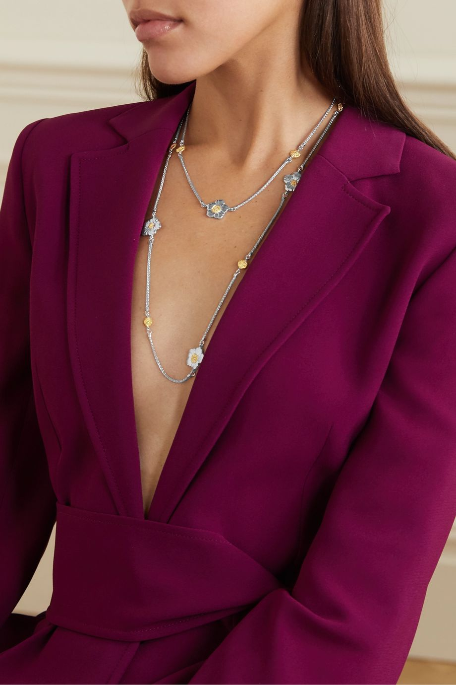 Buccellati Gardenia sterling silver and gold vermeil diamond necklace