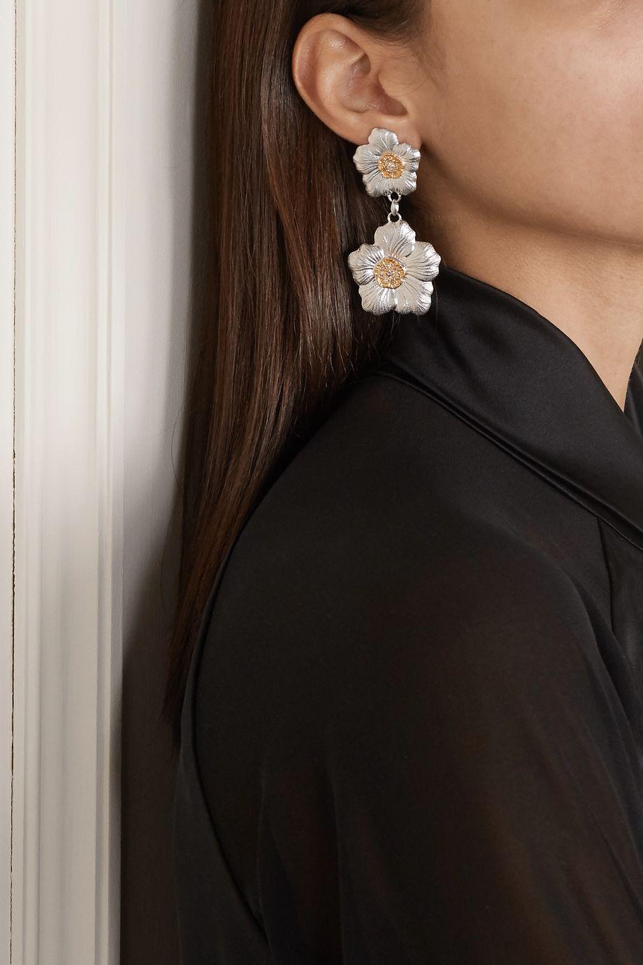 Buccellati Gardenia sterling silver and gold vermeil diamond earrings