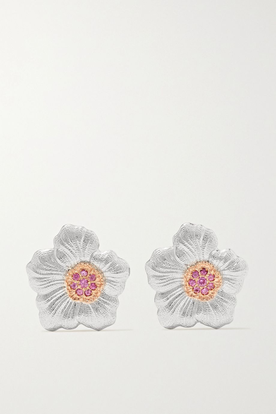 Buccellati Gardenia sterling silver and pink gold vermeil sapphire earrings