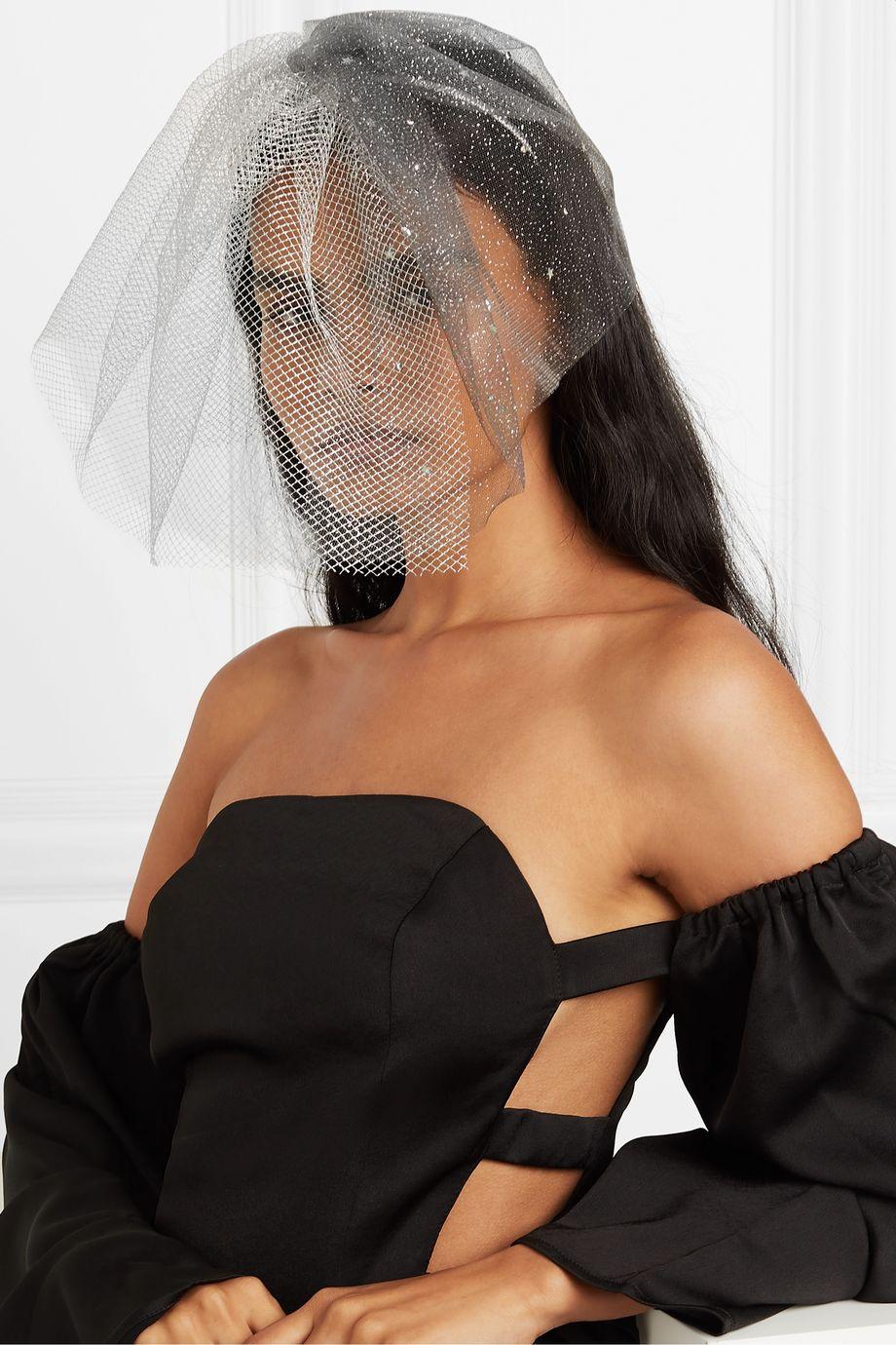 Gigi Burris + NET SUSTAIN Swarovski crystal-embellished glittered silk-tulle veil