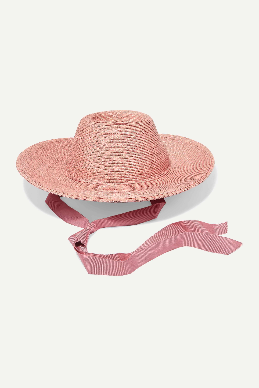 Gigi Burris + NET SUSTAIN Aloha grosgrain-trimmed raffia straw hat