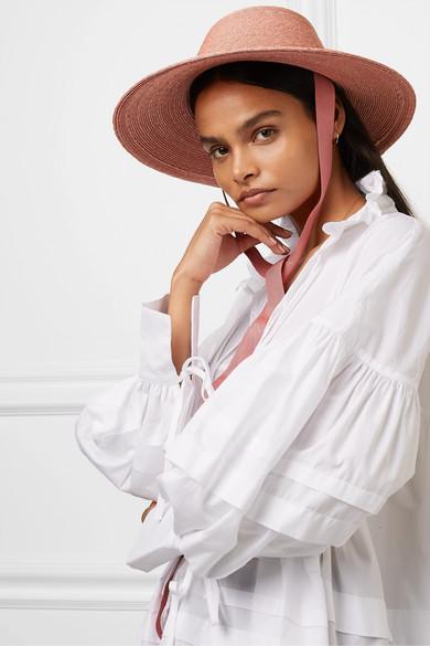 Aloha Grosgrain Trimmed Raffia Straw Hat by Gigi Burris
