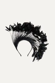 Gigi Burris Apphia feather-embellished cotton-grosgrain headband