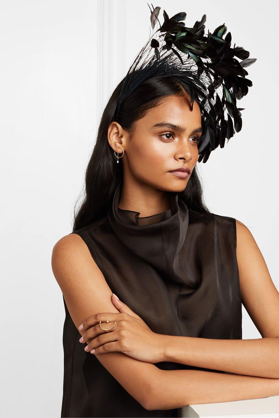 Gigi Burris + NET SUSTAIN Apphia feather-embellished cotton-grosgrain headband