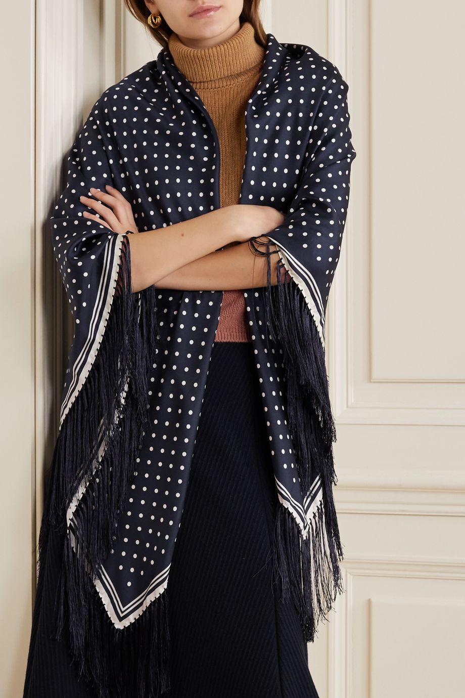 Gabriela Hearst Fringed polka-dot silk wrap