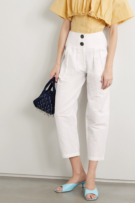 Lilypond pleated cotton, linen and silk-blend tapered pants