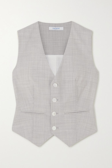 Grey Single Breasted Vest