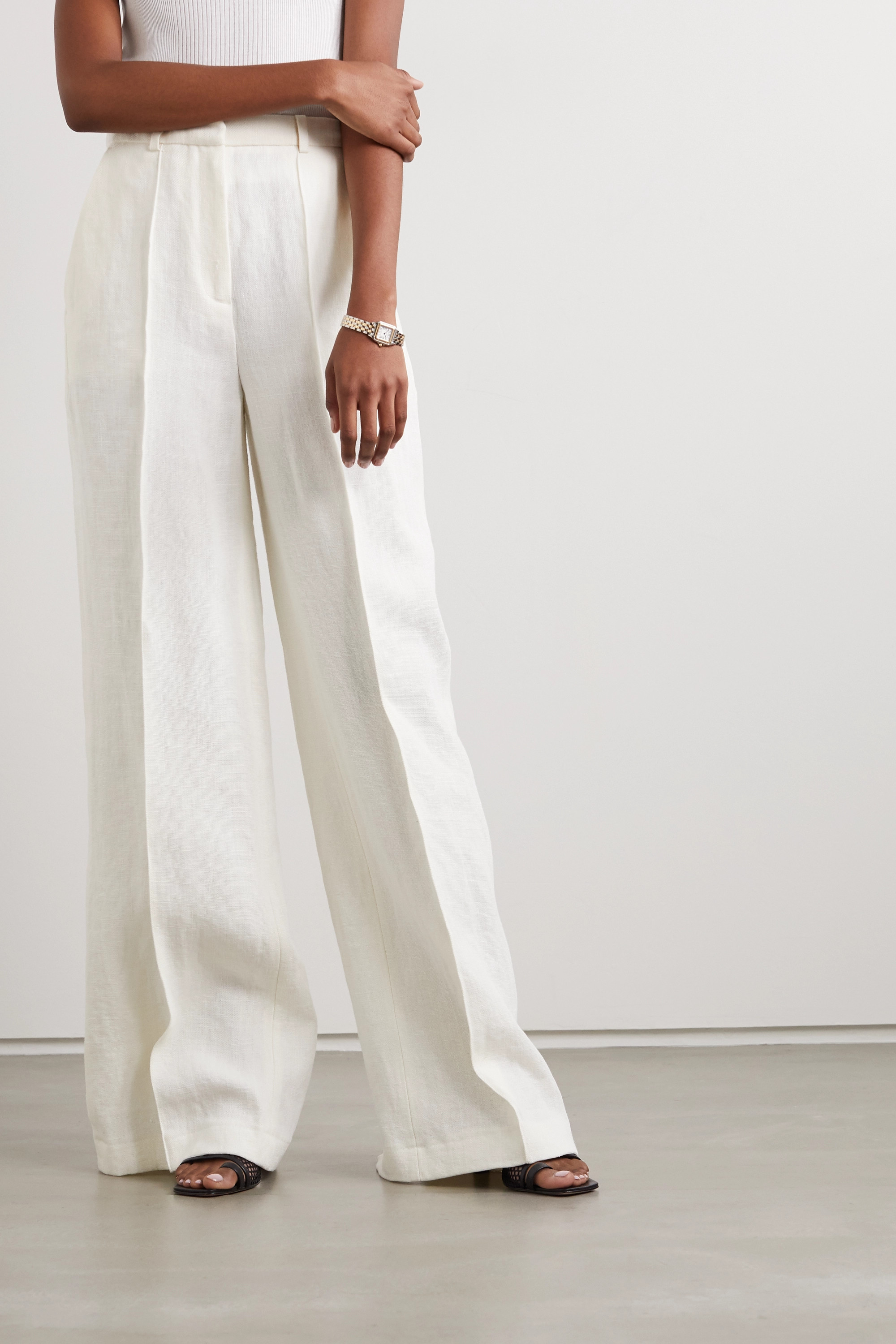LOULOU STUDIO Reao pleated linen wide-leg pants