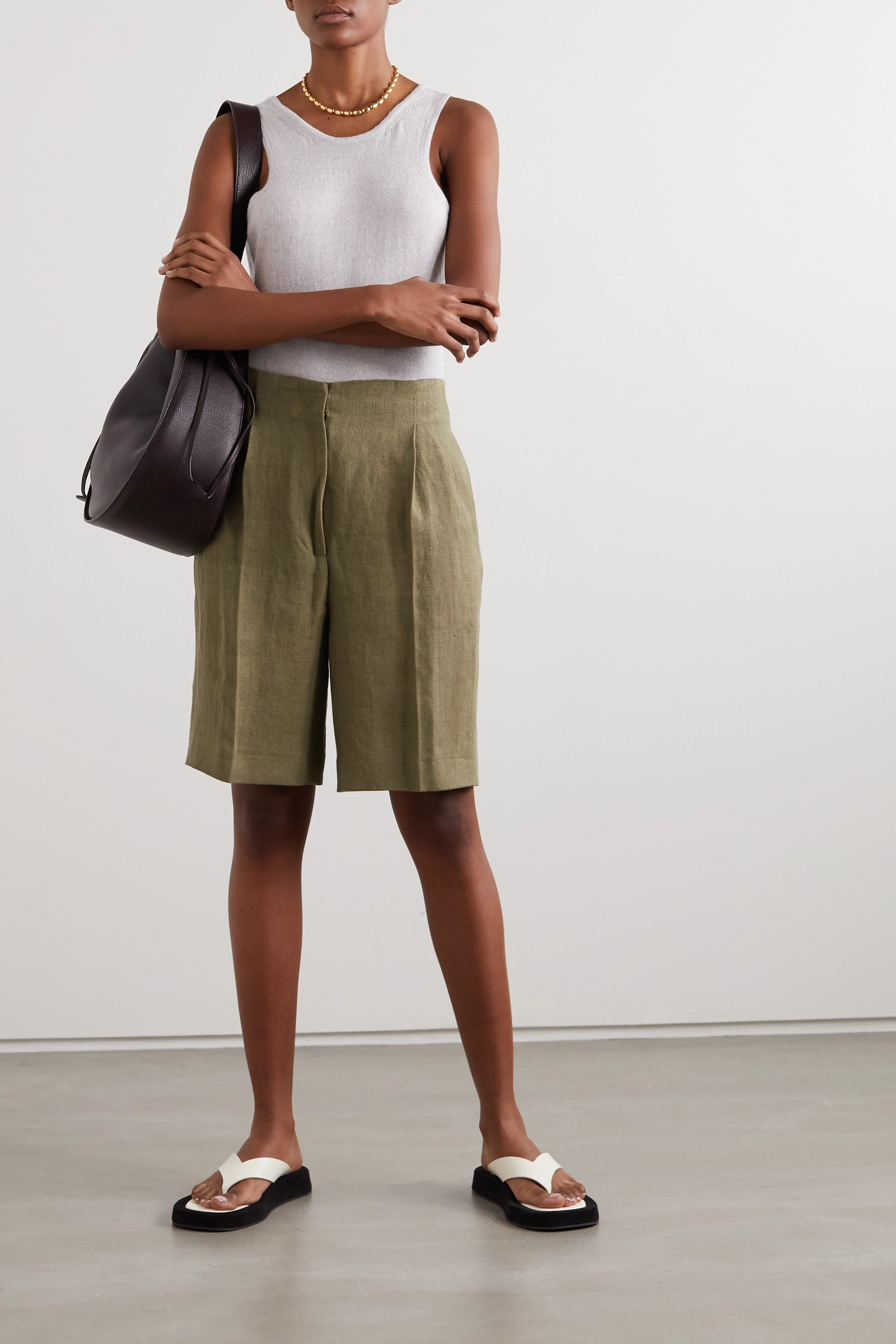 LOULOU STUDIO Bermuda pleated linen shorts