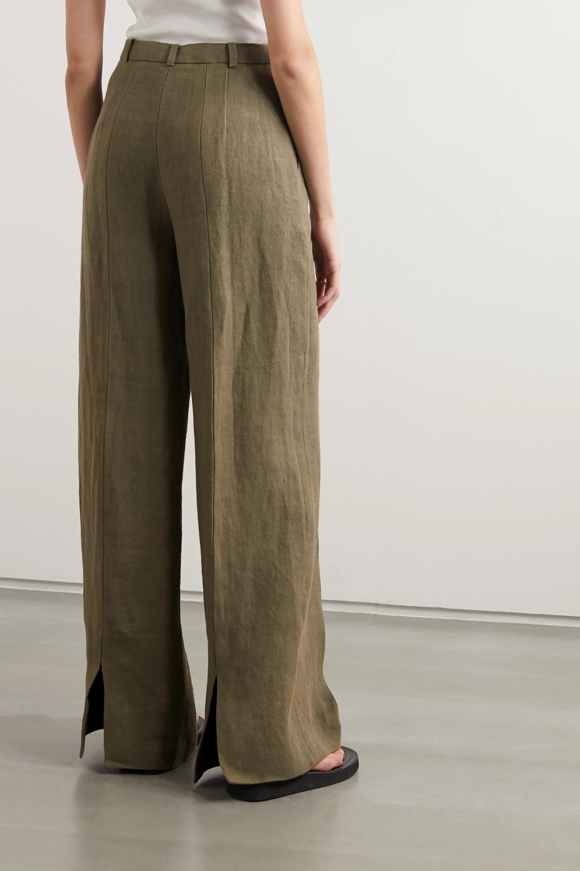 LOULOU STUDIO Reao pleated linen wide-leg pants