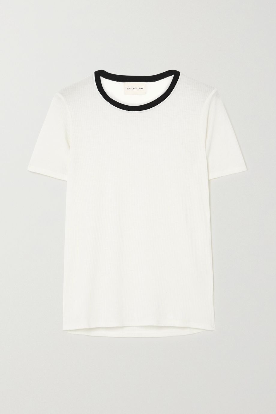 LOULOU STUDIO Teva two-tone ribbed jersey T-shirt