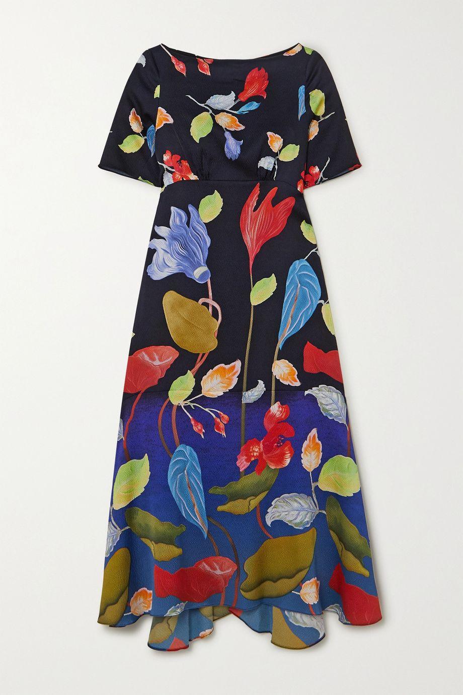 Peter Pilotto Floral-print hammered silk-blend midi dress