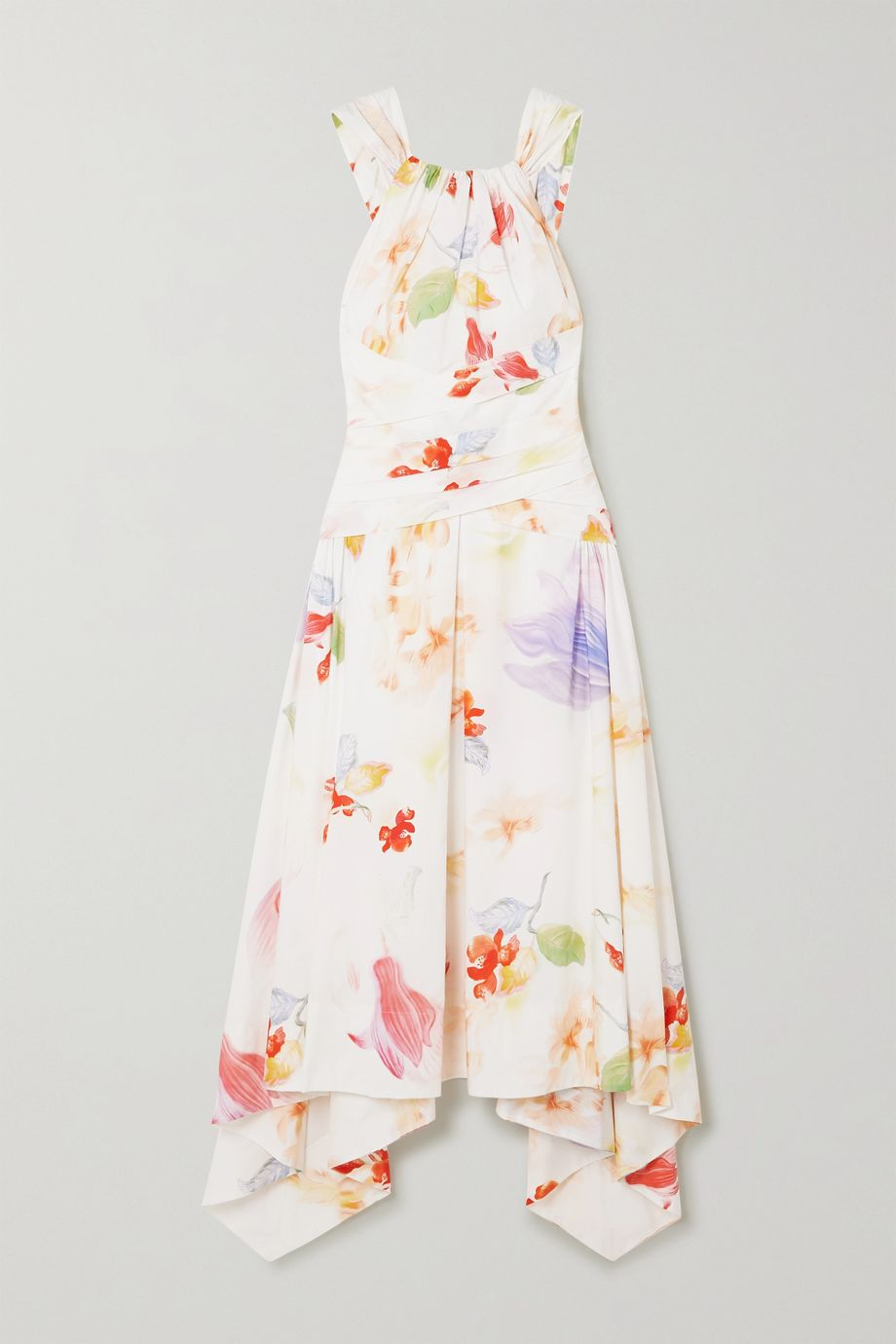 Peter Pilotto Asymmetric floral-print cotton-poplin dress