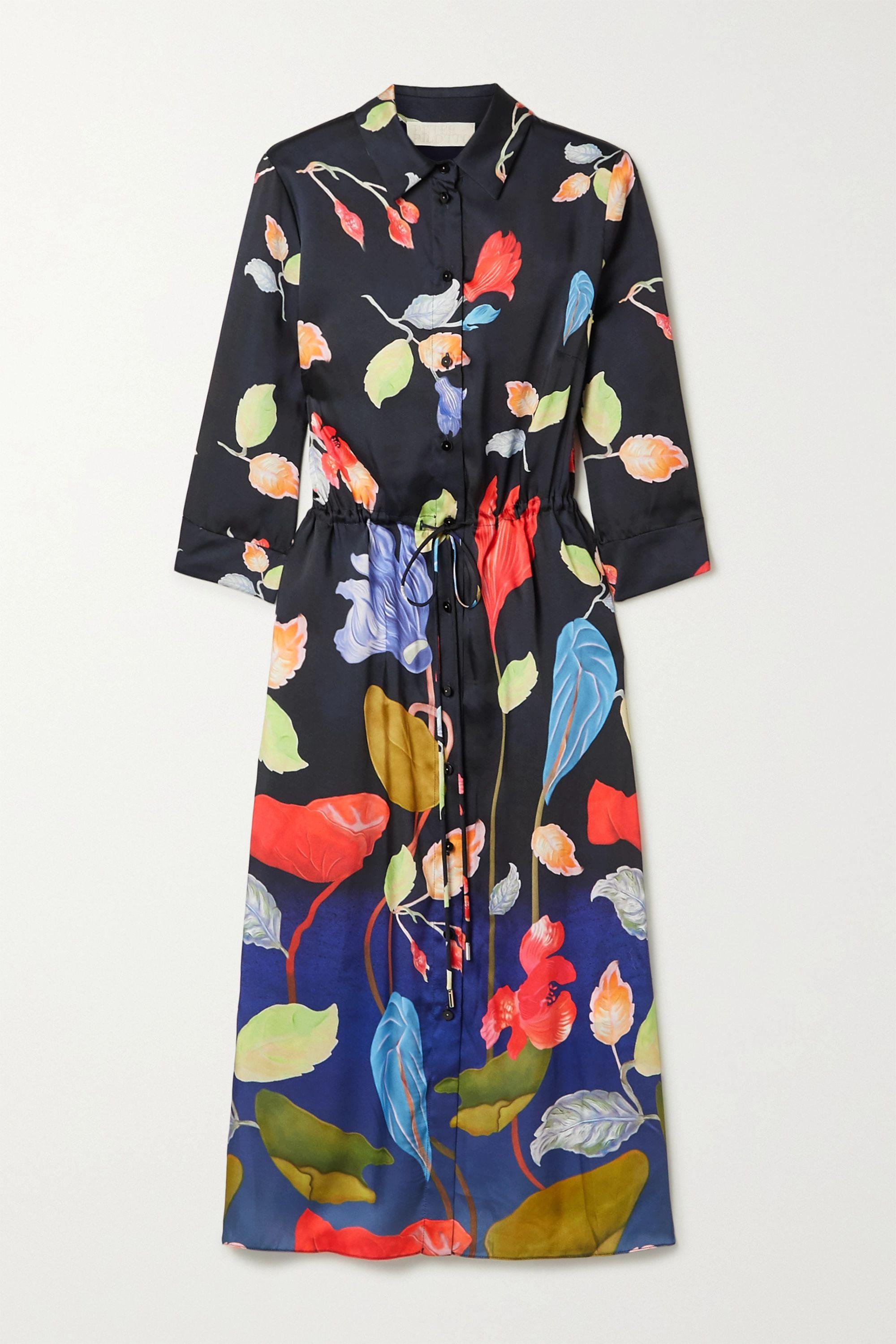 Peter Pilotto Floral-print satin-twill midi shirt dress