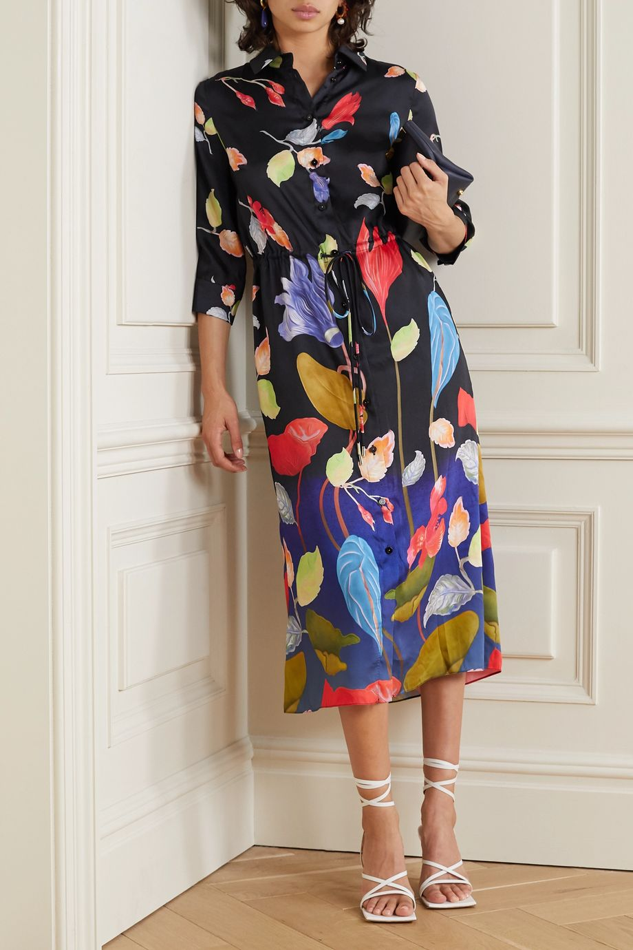 Peter Pilotto Floral-print satin-twill midi shirt dress