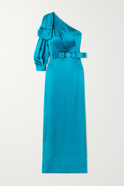 One-sleeve bow-detailed belted satin gown