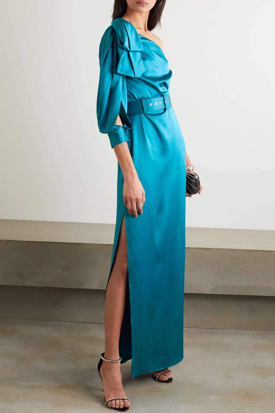 Peter Pilotto One-sleeve bow-detailed belted satin gown