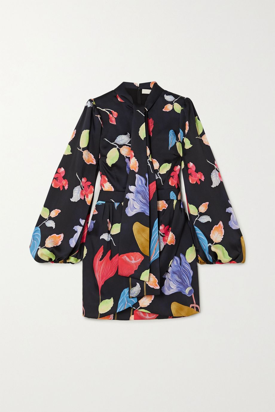 Peter Pilotto Pussy-bow floral-print twill mini dress
