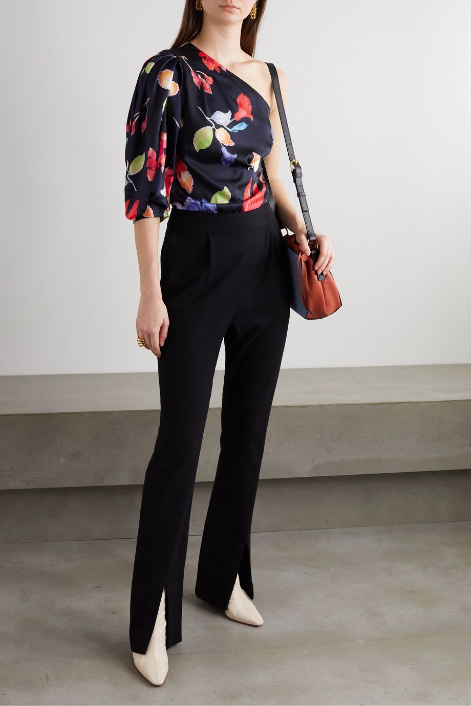 Peter Pilotto One-sleeve floral-print satin-twill top