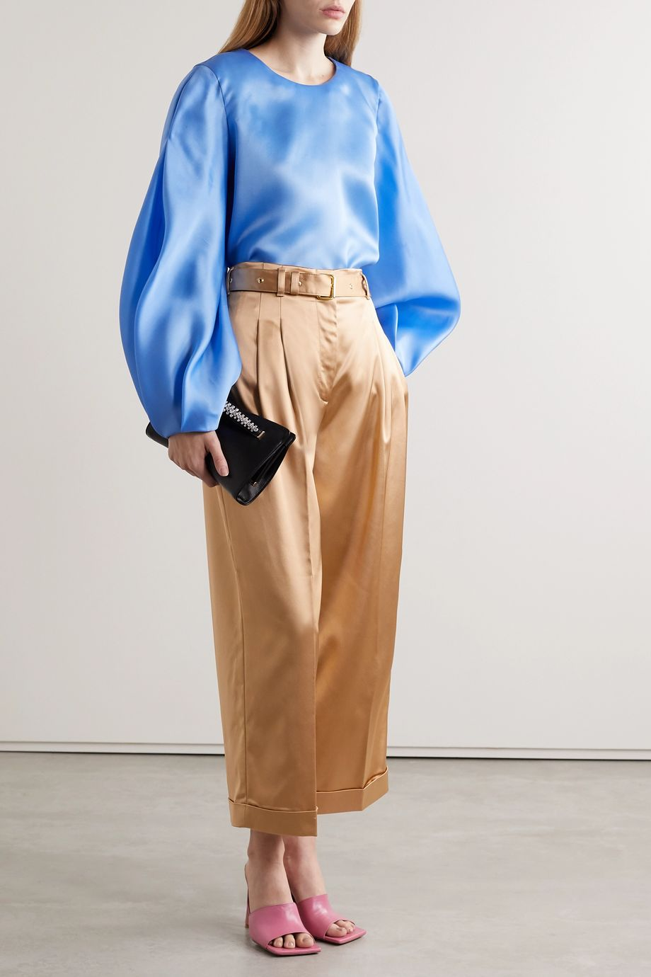 Peter Pilotto Cropped belted satin wide-leg pants