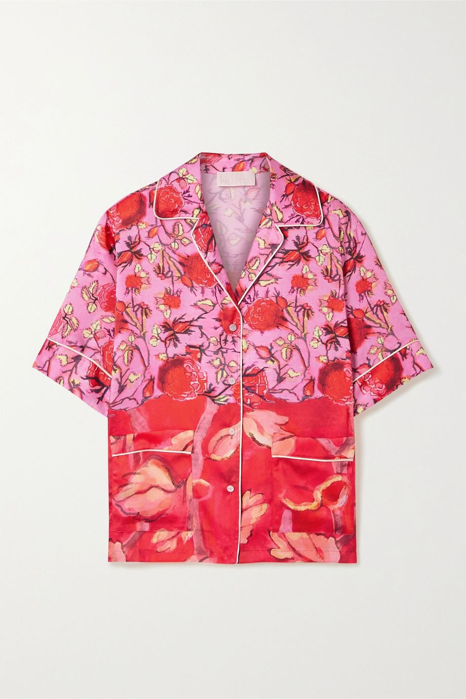 Peter Pilotto Piped floral-print satin-twill shirt