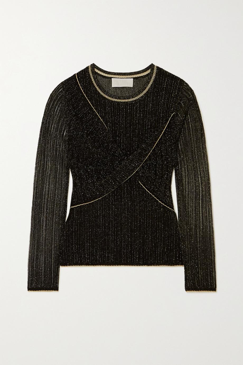 Peter Pilotto Metallic twist-front knit top