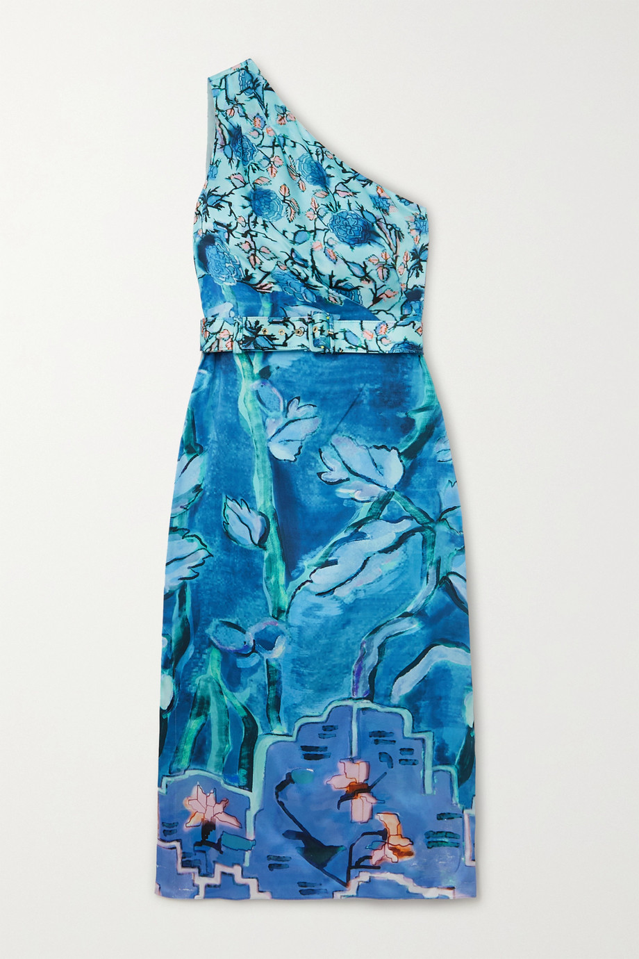 Peter Pilotto One-shoulder belted printed silk-satin midi dress