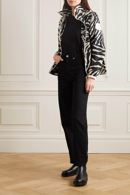 Moncler Pomme hooded zebra-print shell jacket