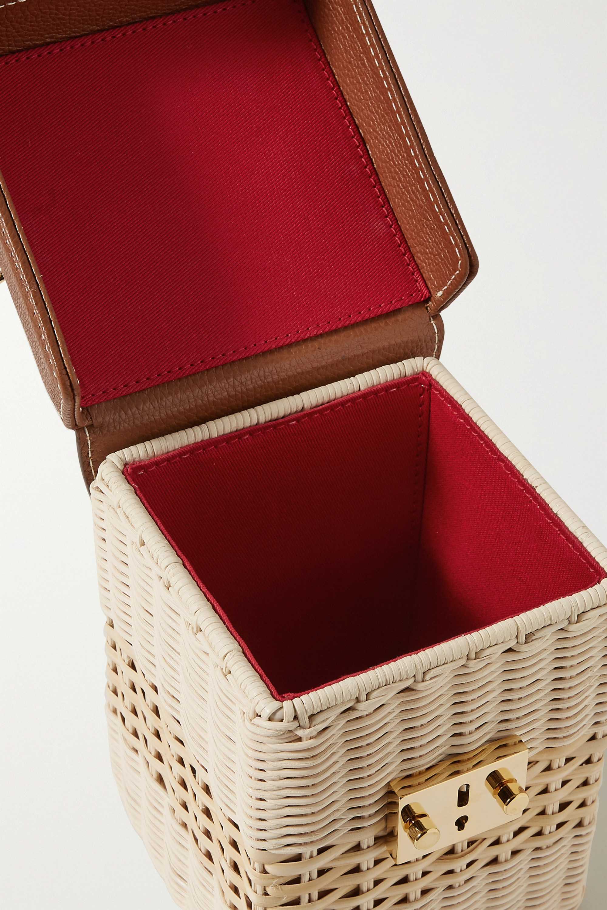 Mark Cross Grace Cube rattan and textured-leather tote