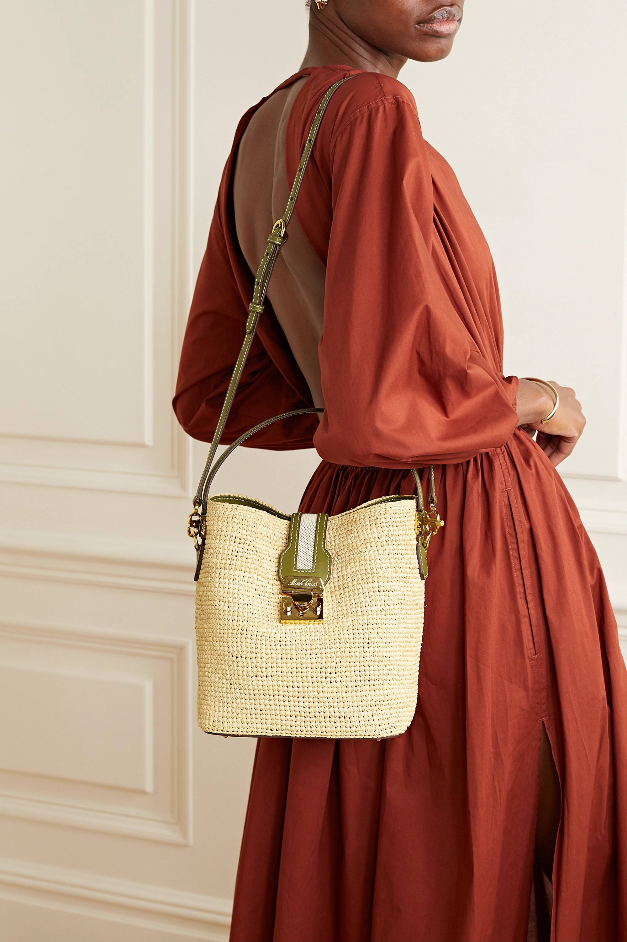 Mark Cross Murphy large textured leather-trimmed raffia bucket bag