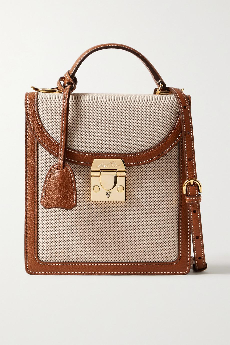 Mark Cross Uptown textured leather-trimmed canvas shoulder bag
