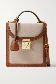 Mark Cross Uptown textured leather-trimmed canvas shoulder bag