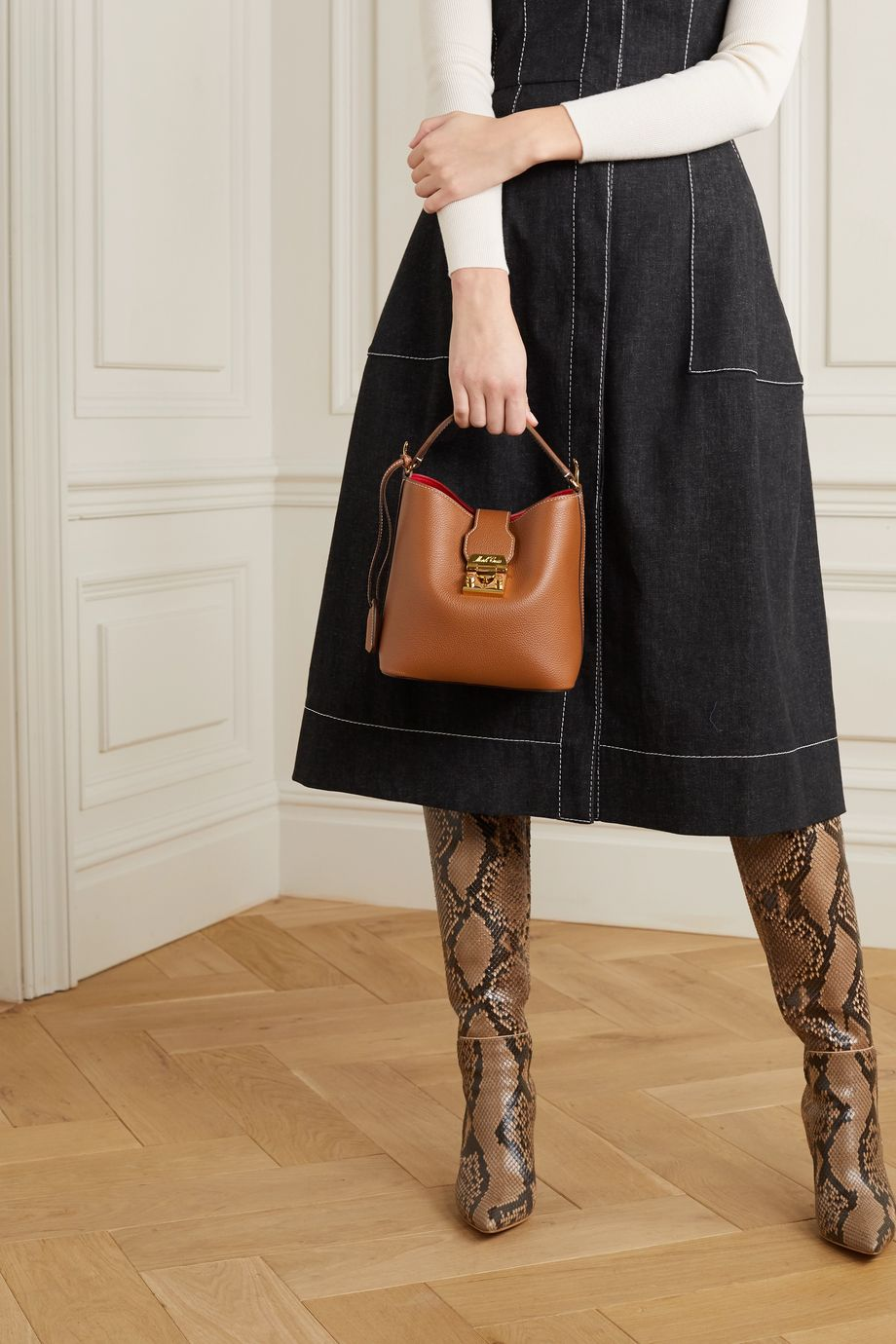 Mark Cross Murphy small textured-leather bucket bag