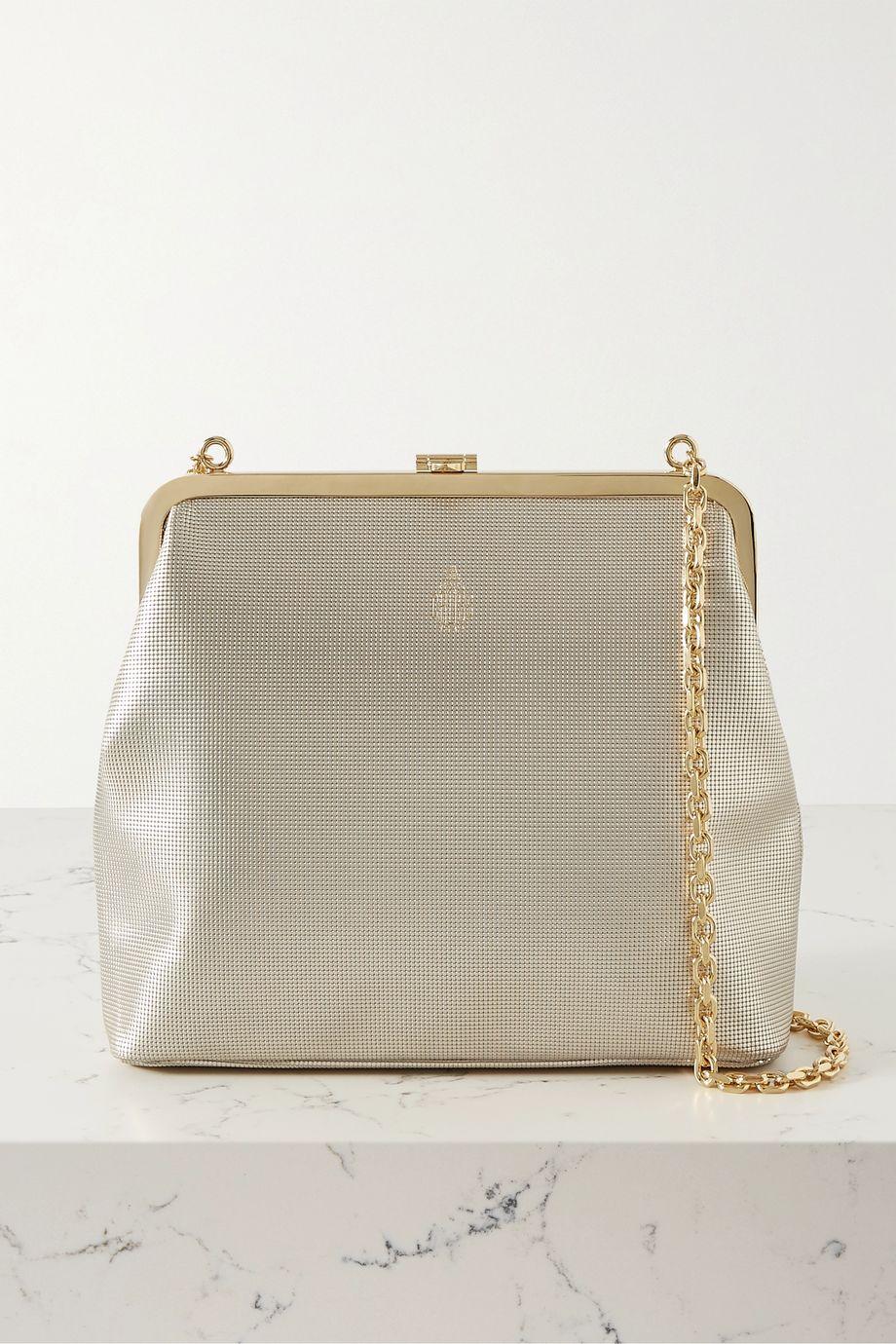Mark Cross Susanna metallic textured-leather shoulder bag