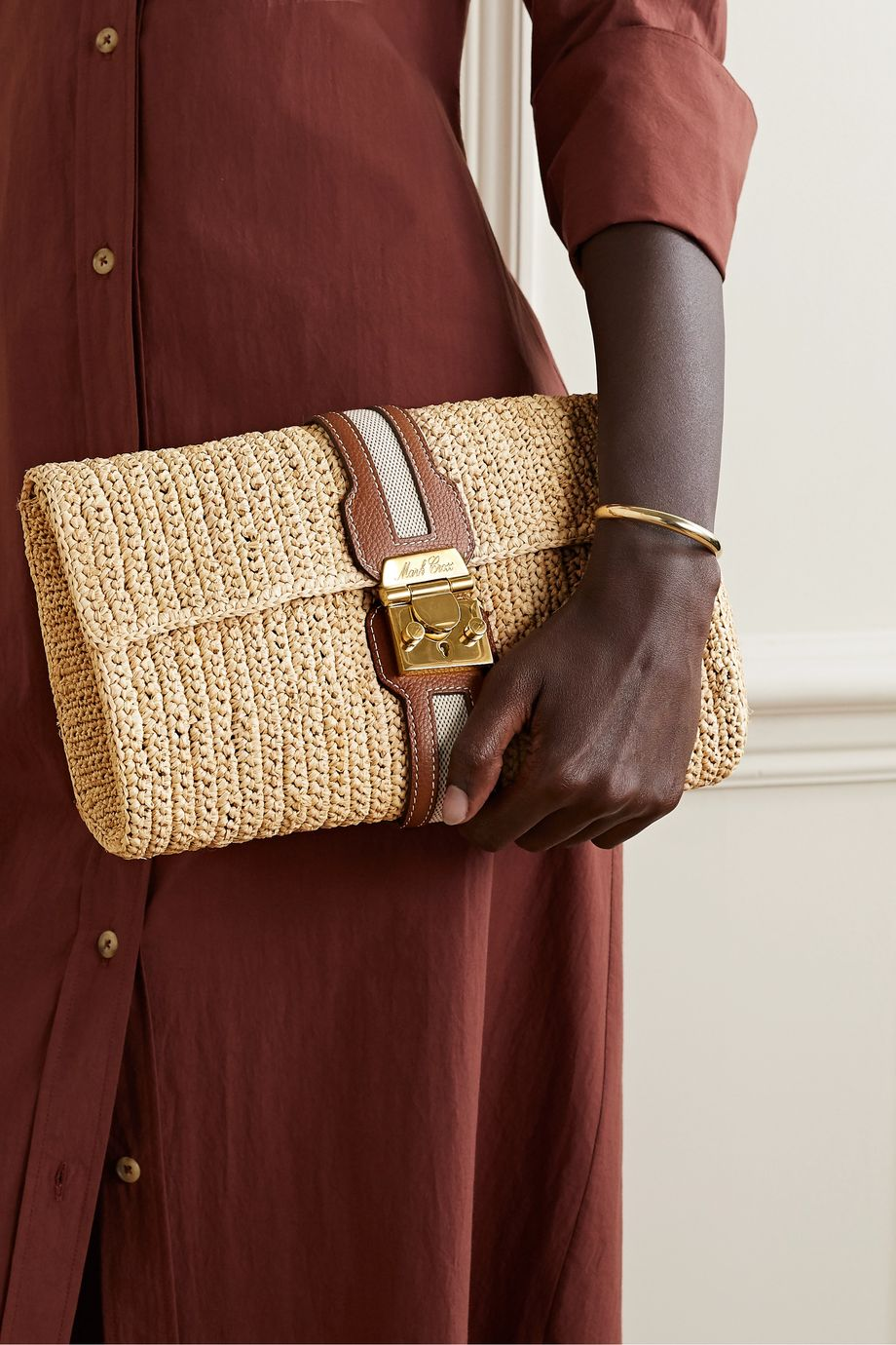 Mark Cross Sylvette leather and canvas-trimmed woven raffia clutch